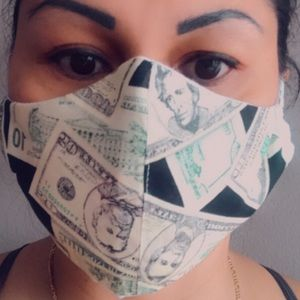 Facemask dollar green reusable 2 layer mask